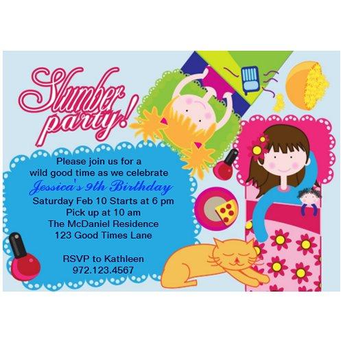 Cute n pink sleepover Slumber Party Invitations zazzle_invitation