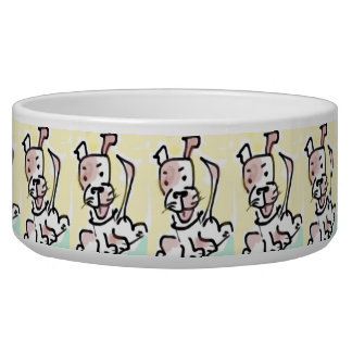 Cute Naive Cartoon Dog Watercolor Bowl