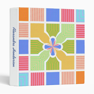 Cute Name Geometric Rainbow Squares Quatrefoil Binder