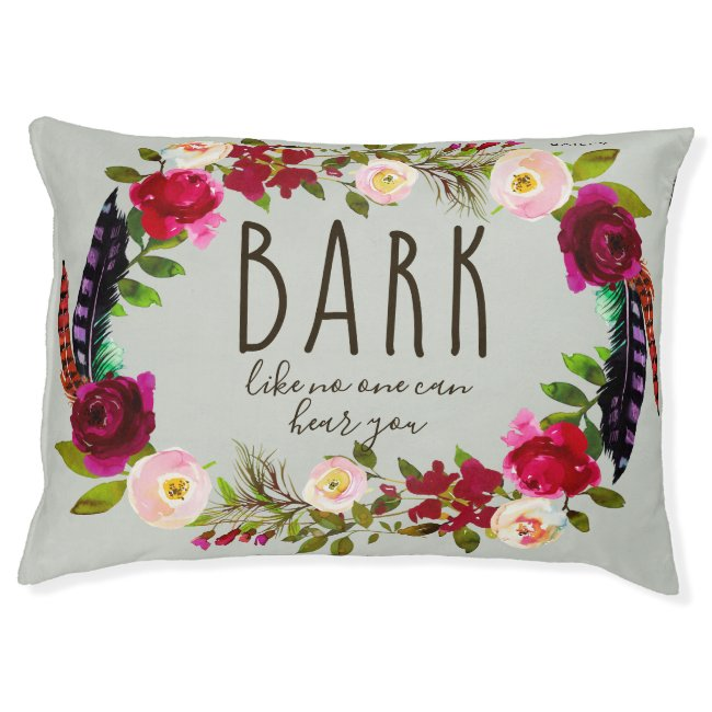 Cute Name with Typography and Floral Wreath Pet Bed