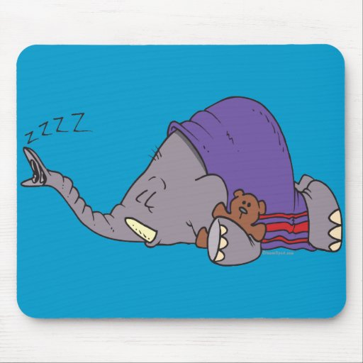 cute napping sleeping elephant cartoon mousepads