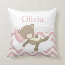 Cute Napping Teddy Bear with Custom Monogram Throw Pillow