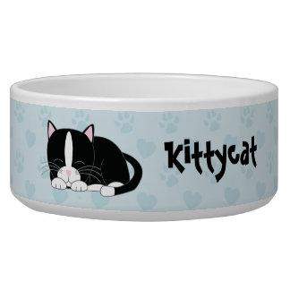 Cute Napping Tuxedo Cat Bowl