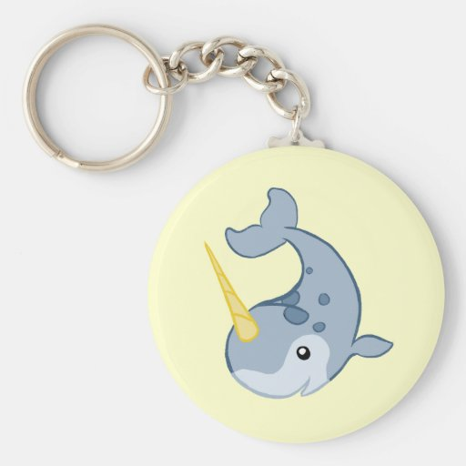 Cute Narwhal Basic Round Button Keychain
