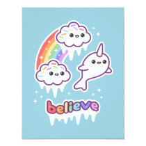 Cute Narwhal Birthday Party Invitations