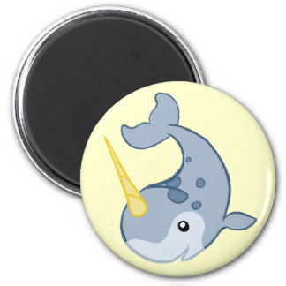 Cute Narwhal 2 Inch Round Magnet