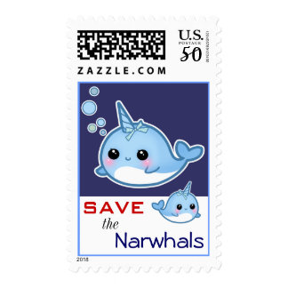Cute narwhal - Save the Narwhals Postage