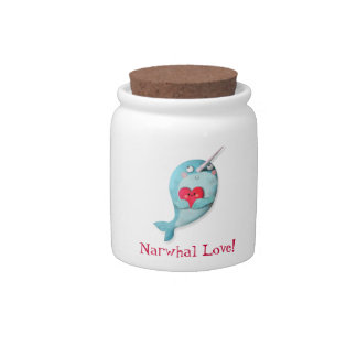 Cute Narwhal with Heart Candy Dish