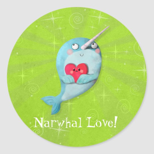 Cute Narwhal with Heart Classic Round Sticker