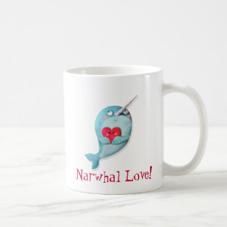 Cute Narwhal with Heart Coffee Mug
