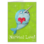 Cute Narwhal with Heart Greeting Card