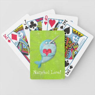 Cute Narwhal with Heart Bicycle Poker Cards