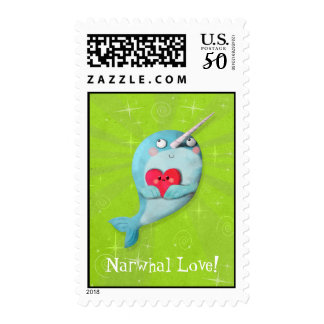 Cute Narwhal with Heart Postage