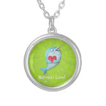 Cute Narwhal with Heart Silver Plated Necklace