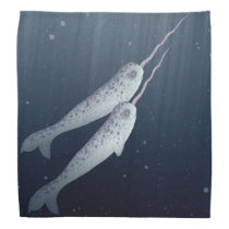 Cute Narwhals Swimming Together Underwater Bandana