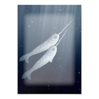 Cute Narwhals Swimming Together Underwater Card