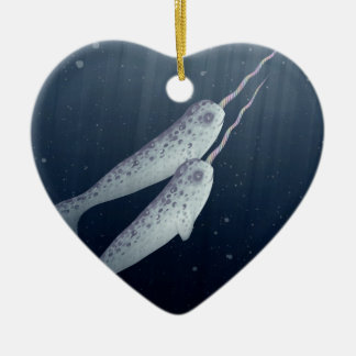 Cute Narwhals Swimming Together Underwater Ceramic Ornament