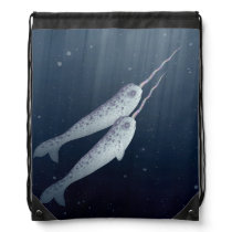 Cute Narwhals Swimming Together Underwater Drawstring Bag