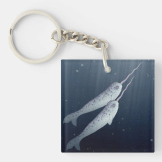 Cute Narwhals Swimming Together Underwater Keychain