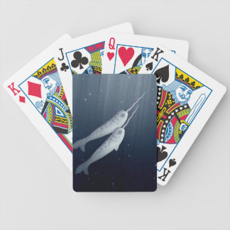 Cute Narwhals Swimming Together Underwater Poker Cards