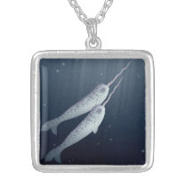 Cute Narwhals Swimming Together Underwater Silver Plated Necklace
