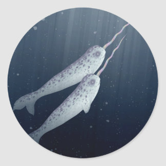 Cute Narwhals Swimming Together Underwater Stickers