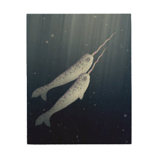Cute Narwhals Swimming Together Underwater Wood Canvas