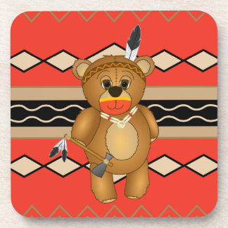 Cute Native American Indian Teddy Bear Cartoon Beverage Coaster
