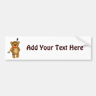 Cute Native American Indian Teddy Bear Cartoon Bumper Sticker