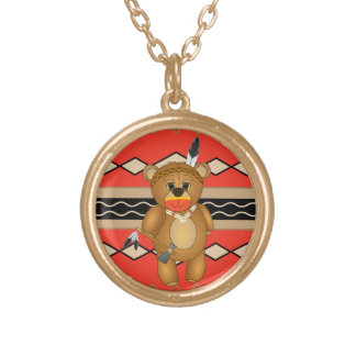 Cute Native American Indian Teddy Bear Cartoon Gold Plated Necklace