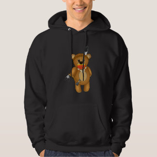 Cute Native American Indian Teddy Bear Cartoon Hooded Pullover