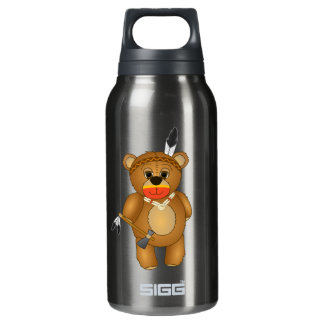 Cute Native American Indian Teddy Bear Cartoon Insulated Water Bottle