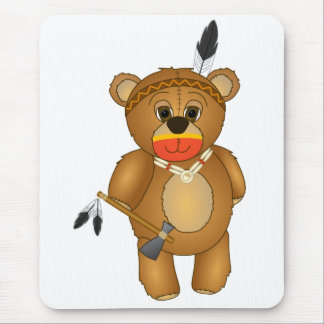 Cute Native American Indian Teddy Bear Cartoon Mouse Pad