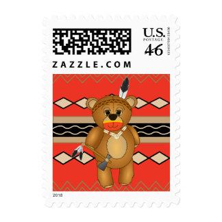 Cute Native American Indian Teddy Bear Cartoon Stamps