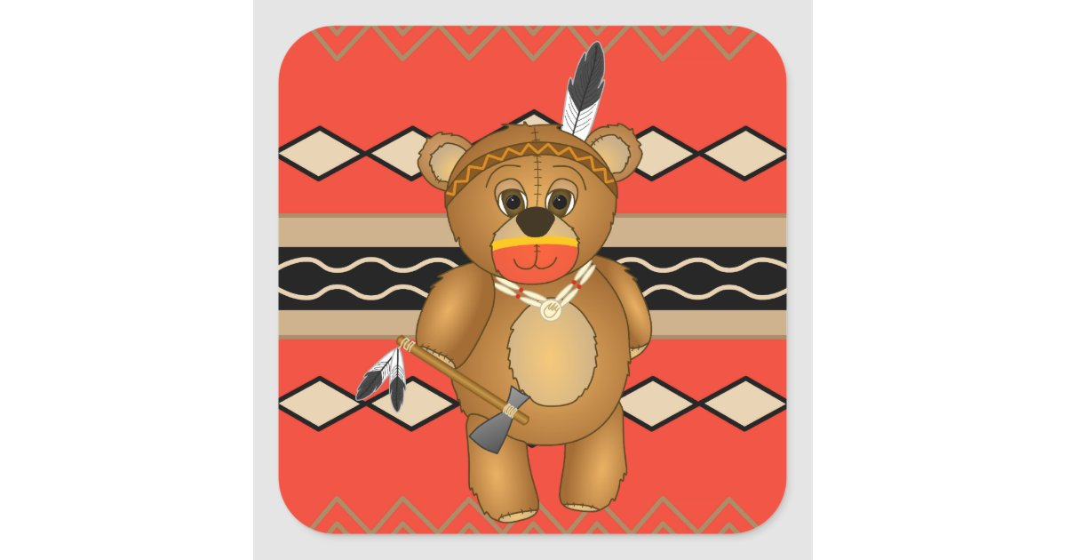 Cute Native American Indian Teddy Bear Cartoon Square Sticker ...