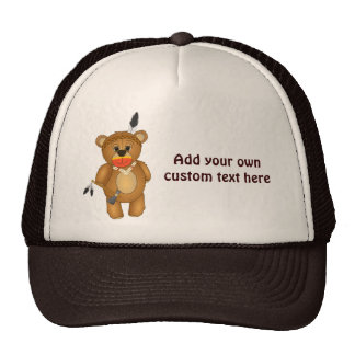 Cute Native American Indian Teddy Bear Cartoon Trucker Hat