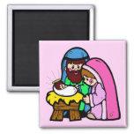 Cute Nativity Scene 2 Inch Square Magnet