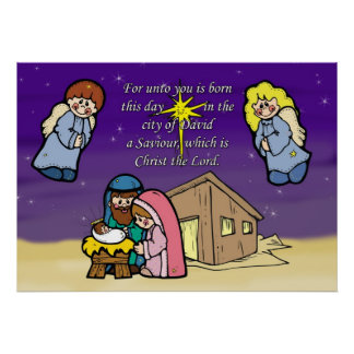 Cute Nativity Scene Christmas Poster