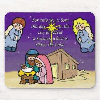 Cute Nativity Scene Mouse Pad