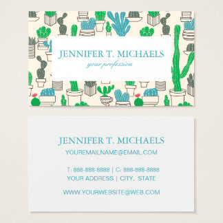 Cute Natural Floral Cacti Pattern Business Card
