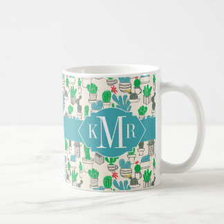Cute Natural Floral Cacti Pattern Coffee Mug