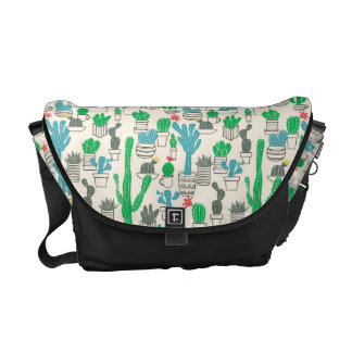 Cute Natural Floral Cacti Pattern Courier Bag