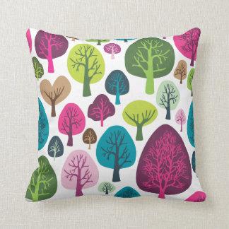Cute nature tree flower retro pattern throw pillow