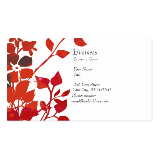Cute Nature's Modern Red Floral Business Card