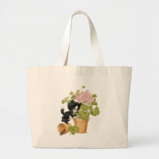Cute Naughty Cat - Kitten In A Flowerpot Large Tote Bag