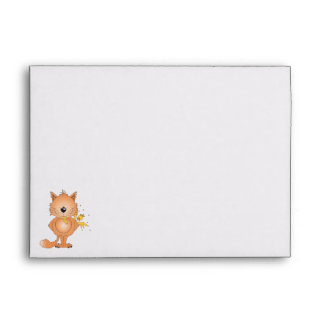Cute Naughty Kitty Cat Cartoon and Friend Envelope