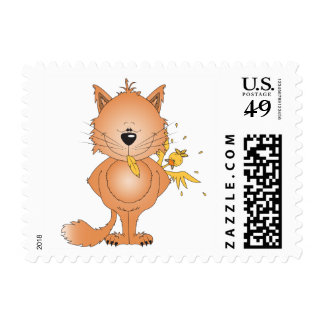 Cute Naughty Kitty Cat Cartoon and Friend Postage