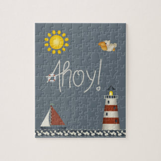 Cute Nautical Ahoy Sailboat & Lighthouse Puzzle