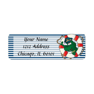 Cute Nautical Alligator Baby Shower Theme Label