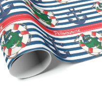 Cute Nautical Alligator Baby Shower Theme Wrapping Paper